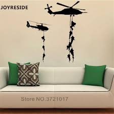 Joyreside Helicopter Soldiers Wall Decal Military Wall Sticker Abseiling Vinyl Decor Home Livingroom Decor Interior Design A886 Wall Stickers Aliexpress