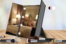 tri fold led makeup mirror 3 colours