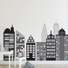 Large Cityscape Wall Decals Black And White City Skyline Wall Decals