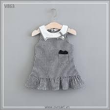 Váy Bé Gái Caro Cổ Mèo Trắng siêu xinh, cotton thoáng mát, giá rẻ nhất