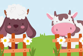 Premium Vector Cow And Sheep The Wooden Fence Flowers Farm Animals