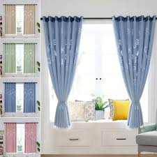 Letter Hollow Thermal Blackout Curtains Eyelet Ring Top Ready Made Curtain Mesh Kids Girls Boys Room Bedroom Drapes Walmart Com Walmart Com