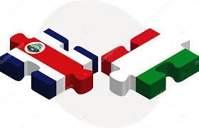 banderas de Italia y costa rica en puzzle — Vector de stock ...