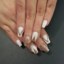 amazing white and gold nail art designs