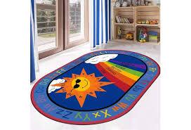 Cartoon Anti Skid Kids Area Rugs Abc With Numbers Sun Rainbow Oval Child Large Carpet Boys Girls Babies Playroom Bedroom Study Room Nursery Living Room Mats Wish