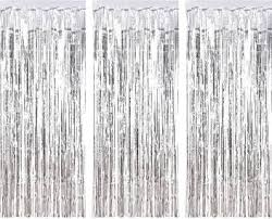 Partyballoonshk Silver 3 Ft X 10 Ft Photo Backdrop For Birthday Party Wedding Decor 1 Pack Black Metallic Tinsel Foil Fringe Curtains Party Decorations Pack Of 3 Silver Price In India