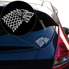 2pcs Starks Banner From The Game Of Throne Decal Sticker For Car Window Laptop Motorcycle Walls Mirror And More 6 Whiteblack Car Stickers Aliexpress