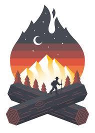 Campfire Sticker Hiker Decal For Car Water Bottle Truck Sticker Art