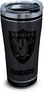 Amazon Com Tervis Nfl 100 Oakland Raiders Stainless Steel Insulated Tumbler With Clear And Black Hammer Lid 20 Oz Kitchen Dining