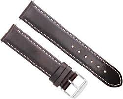 18mm smooth leather watch band strap