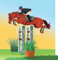 Horse Jumping Over The Hurdle Clipart Images
