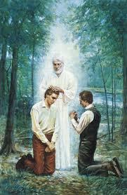 Juan El Bautista confiriendo el Sacerdocio Aaronico a José Smith y Oliver  Cowdery.   Joseph smith, La iglesia de jesucristo, Sacerdocio