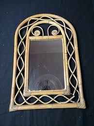framed mirror rattan tiki boho retro