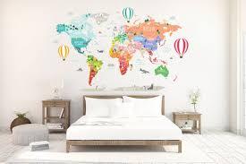 Hot Air Balloon World Map Decal Clear Vinyl Decal Nursery Etsy