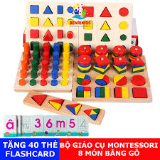 Tặng 40 Thẻ Học Chữ Và Số)Đồ Chơi Giáo Cụ Montessori 8 Món Bằng Gỗ ...