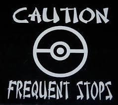 Pokemon Pokeball Go Team Caution Frequent Stops Car Window Decal Sticker 75090 Ebay