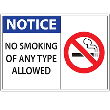 Zing Enterprises No Smoking Sign Notice No Smoking Material Window Decal Fisher Scientific