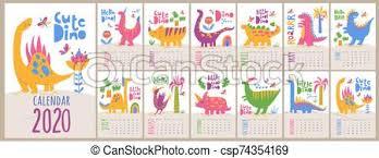 Vector 2020 Calendar Template With Dinosaurs In Kids Cartoon Style Dinosaurs Kids Style Cartoon Vector 2020 Calendar Letter
