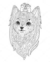 Adult Coloring Page With Dog In Zendala Style Stock Vector