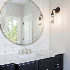 large round metal bathroom mirror