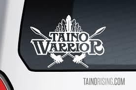 Taino Warrior Laptop Car Window Decal By Taino Rising Indian Feather Native American Chief Headdress War Spear Arrow Puerto Rico Boricua Taino Rising
