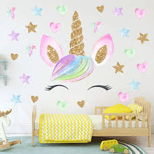Colorful Flower Animal Unicorn Wall Sticker 3d Art Decal Sticker Child Room Nursery Wall Decoration Home Decor Gifts For Kids Wall Stickers Aliexpress