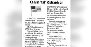Calvin Richardson Obituary - Visitation & Funeral Information
