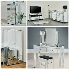 mirrored furniture bedside table chest