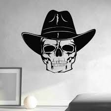 Skull With Cowboy Hat Wall Decal Style And Apply