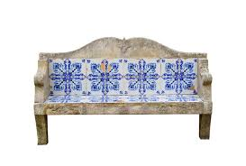 garden bench made of stone and tiles