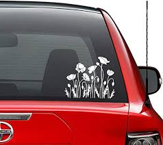 Amazon Com Poppy Flowers Garden Vinyl Decal Sticker Car Truck Vehicle Bumper Window Wall Decor Helmet Motorcycle And More Size 7 Inch 18 Cm Wide Color Gloss White