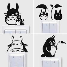 Amazon Com Wall Decal Set Of 4 Totoro Light Switch Sticker Leaf Raindrop Art Funny Switch Wall Decals Vinyl For Stairs Cute Decor Home Kitchen
