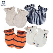 ĐỒ SƠ SINH MỚI VỀ TẠI FIBOBABY SHOP : (Gerber) Set 4 đôi bao tay bé sơ sinh  0-3 tháng (hổ)