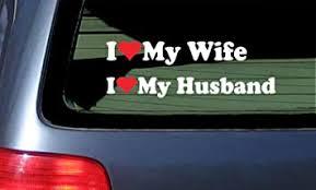 Amazon Com Set Of 2 I Love My Wife Husband Car Decal Sticker White Red Automotive