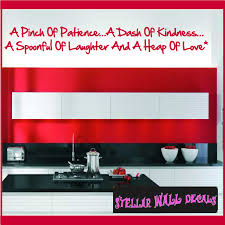 A Pinch Of Patience A Dash Of Kindness A Spoonful Of Laughter And A Heap Of Love Wall Quote Mural Decal Swd