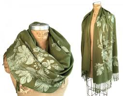 scarf hops and wheat pashmina scarf