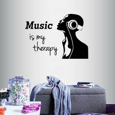 Vinyl Decal Music Is My Therapy Quote Girl With Headphones Dj Room Decor 625 For Sale Online Ebay