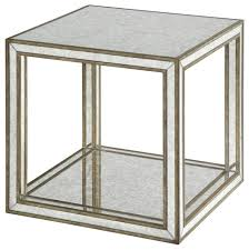 open cube mirrored accent table