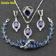 925 st silver color jewelry set