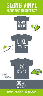 Cutting Vinyl For Different Size T Shirts Xl Sizing Guide Happy Crafters