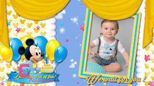 Animated Invitation Happy Birthday Mickey Mouse Baby Boy