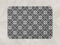 fl bath mat black white bath rug
