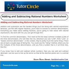 adding and subtracting rational
