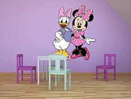 Amazon Com Daisy Duck And Minnie Mouse Cartoon Character Wall Graphic Decal Sticker Vinyl Mural Baby Kids Room Bedroom Nursery Kindergarten School House Home Wall Art Design Removable Peel And Stick 10x8 Inch