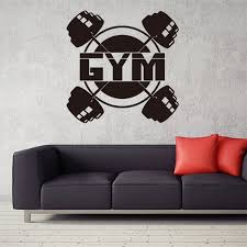 1 Pcs Exercise Black Gym Quote Barbell Pattern Stickers Gym Wall Decal Sport Motivation Fitness Gym Wall Mural Wish