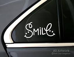 Amazon Com Salt City Graphics Smile Decal Happiness Sticker Smiley Face Be Happy Car Window Decal Bumper Sticker 5 Inches Wide White Automotive