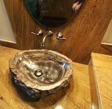 petrified wood sink rustic bathroom