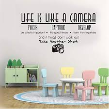 Amazon Com Wall Decal Sticker Art Mural Home Decor Life Is Like A Camera For Bedroom Living Room Kids Room Home Kitchen
