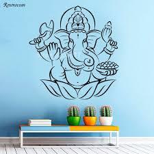 Indian Elephant Wall Decal Ganesh Vinyl Sticker Art Home Bedroom Decor Z164 Bedroom Decor Vinyl Stickerselephant Wall Decal Aliexpress