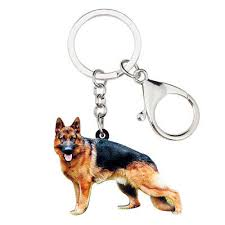 german shepherd dog keychain ring